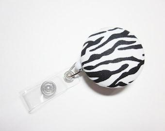 Badge Reel, Covered Button, Zebra Print, ID Holder