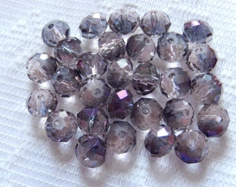 24  Amethyst Purple Clear Metallic AB Faceted Rondelle Crystal Beads  8mm x 6mm