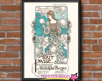 Art Nouveau French Printable Art - Wall Art Printable - Tout Passe - Sheet Music Digital Printable Art - Vintage Art Nouveau 8x10