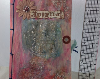 OOAK Handmade Mixed media Journal - Pink