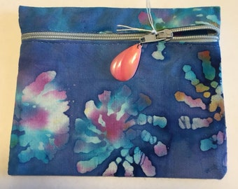 Cotton Zipper pouch.  Lined.  Free Shipping
