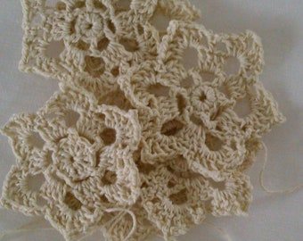 Crochet Applique Mini Flower Motif Flower Crochet Flower Applique  Crochet Motif Crochet Flower Motif Motifs in white 5 pc, 2'6 inches
