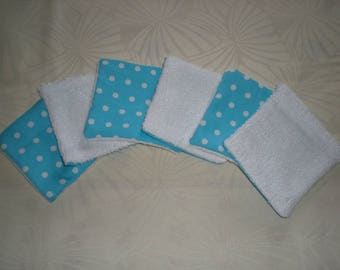 6 wipes bamboo - turquoise blue with polka dots