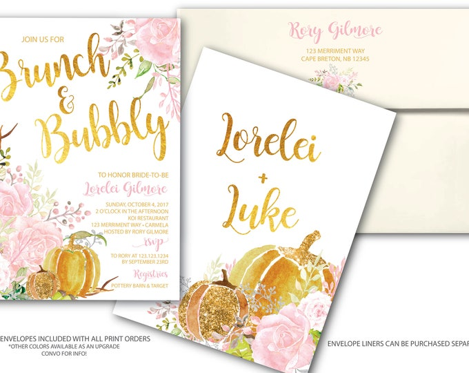 Fall Brunch and Bubbly Invitation // Pumpkin Bridal Shower // Floral // Fall in Love // Pink // Gold // Watercolor // CARMEL COLLECTION
