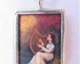St cecilia necklace etsy soldered charm pendant saint cecilia patron of musicians music catholic art aloadofball Image collections