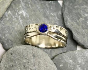 Silver sapphire ring, Sapphire silver ring, Sapphire ring silver, Sapphire ring, Silver band ring, Blue sapphire ring, Blue sapphire