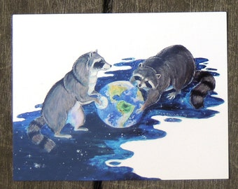 Surrealism Fantasy Raccons Playing in Space Postcard