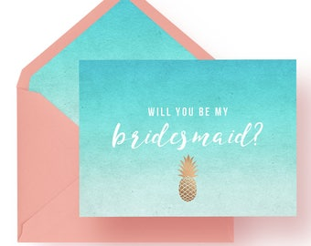 Bridesmaid Invitation • Pineapple of My Eye • Printable Download OR Professionally Printed For You!