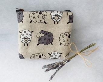 Linen Zipper Pouch with Sheep - Makeup Pouch