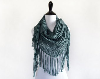 Triangle Scarf Knitting Pattern // Lace Triangle Shawl Pattern // Spring Scarf Pattern // Fringe Scarf Pattern