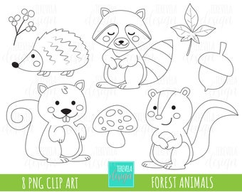 50% SALE forest animalis stamp, digi stamp, commercial use, fall clipart, woodland stamps, autumn stamps, coloring page, cute animals