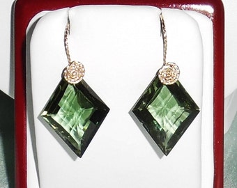 35cts Natural Fancy CKB Green Amethyst gemstones, 14kt yellow gold Pierced Earrings