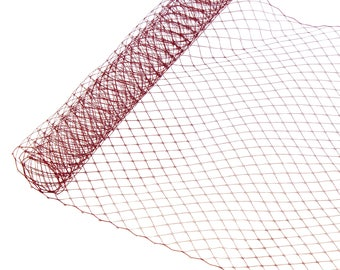 "1 Yard x 10"" Maroon Russian Millinery Birdcage Veil Netting - Available in 19 Colors"