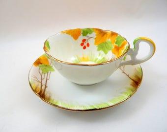 Vintage Teacup and Saucer ,Royal Grafton, autumn leaves