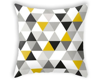 Mid century geometric pillow mid century cushion geometric throw pillow retro geometric pillow black white yellow triangles throw pillow