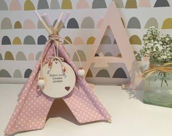 Handmade personalised mini teepee ornament. New baby gift.