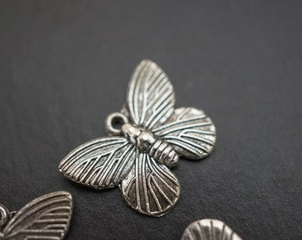 SALE- Antique Silver Beautiful Monarch Butterfly Charms - 10 pcs