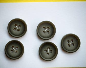 5 small light grey buttons in 15mm synthetic, shirt or vest or scrapbooking