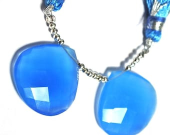 2Pcs 1 Match Pair 24mm Genuine AAA Blue Chalcedony Faceted Heart Briolette Semi Precious Beads Gemstone Beads