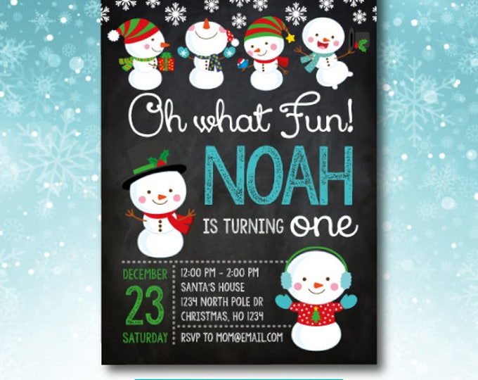 Winter onederland invitation, Christmas Birthday Invitations, Holiday Birthday Invitation, Snowman Invitation, Any age, DIGITAL, 2 options