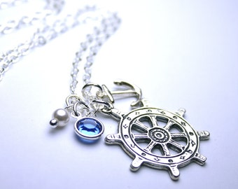 Anchors Away Necklace - Sterling Silver Ship's Wheel Pendant - Swarovski Crystal and Pearls with Silver  - Nautical Charms