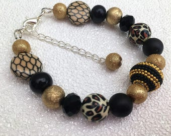 Teen Jewelry Gift, Animal Theme Bracelet, Brown Bracelet, Single Strand Jewelry, Brown and Gold Bracelet, Gift for Her, Fashion Jewelry