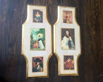 Victorian wall art Florentine plaques gold gilt made in Italy Renaissance pictures