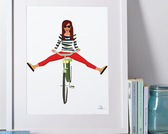 Girl on a Bicycle (Illustration Print)