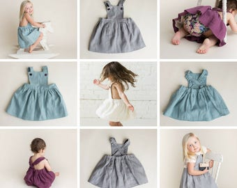Girls Linen Pinafore Dress - Girls Linen Dress - Girls Pinafore Dress - Vintage Style - Natural Linen Dress - Toddler Dress - Linen Clothes