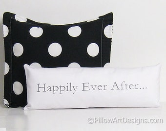 Small White Pillow with words Happily Ever After  Oblong Skinny White and Grey Hand Painted Made in Canada 6 X 18