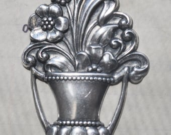 Art Nouveau flower basket brass stamping, Sterling Silver Finish, Made in the Usa, Silver Stampings