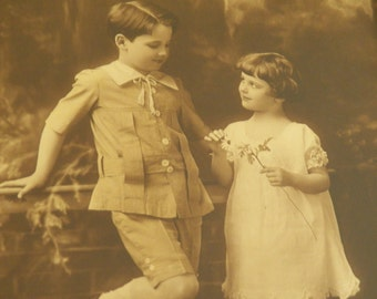 Antique 1920 Framed Photograph of Two Children
