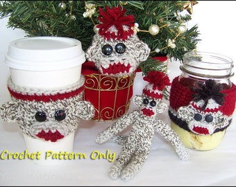 Sock Monkey Toys and Gifts: Cozies, Ornament, Stuffed Animal - Crochet Pattern