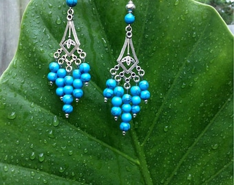 Turquoise Blue Earrings, Antiqued Tibetan Silver Earrings, Silver Chandelier Earrings, Handmade Earrings