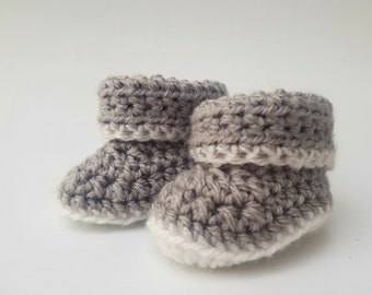 Grey Baby Crochet Booties