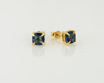 Blue Sapphire Studs, September Birthstone Studs, Minimalist Studs, Simple Studs, Prong Post Earring, Square Shape Studs, Sapphire Earring