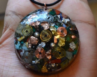 Ultimate Crystal Mix -Powerful Orgone Pendant - Amethyst, Emerald,Jade, Rose Quartz, Angelite & MORE!