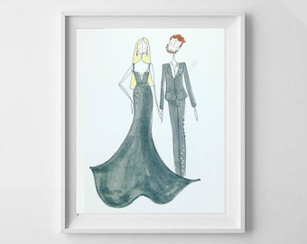 Handpainted Custom Couple illustration