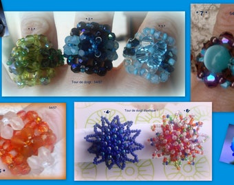 set of 7 colorful rings * size 54/57