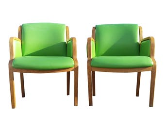 Vintage Bentwood Thonet Accent Armchairs - Mid Century Modern MCM Glam Green