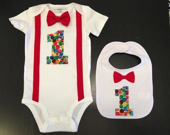 The Very Hungry Caterpillar First Birthday Bow tie Bodysuit with matching bib, cake smash