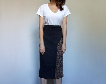 Leopard Print Skirt Grey Animal Print Vintage 80s Slim Fit Wiggle Pencil Skirt - Medium M