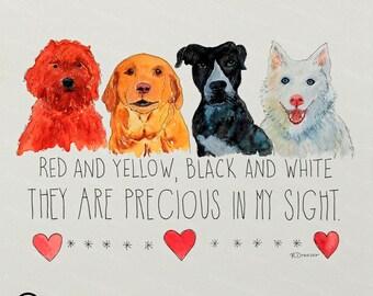 Four Dogs Original Fine Art Watercolor Print for Dog Lover Precious in My Sight Contemporary Colorful Modern Decor Original Art & Print