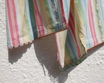Scarf Ladies Isabella delicate Lurexstreifen in striped cotton with floral applications-upcycling