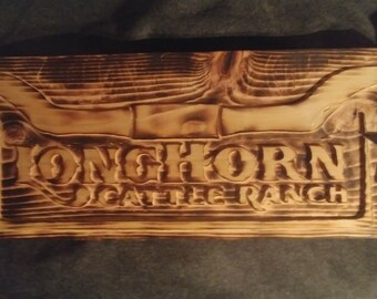Longhorn Cattle Ranch Sign