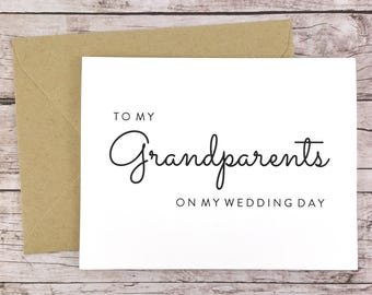 To My Grandparents On My Wedding Day Card, Grandparents Card, Grandpa Card, Grandma Card, Wedding Card, Grandparents Gift  - (FPS0016)
