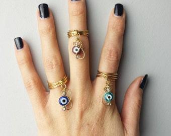 Evil Eye Charm Ring / 14k Gold Fill / Boho Gypsy Chic / Talisman Jewelry
