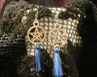 Blue Tassel Pentacle Earrings