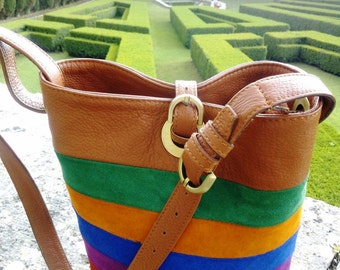 Rainbow leather satchel bag