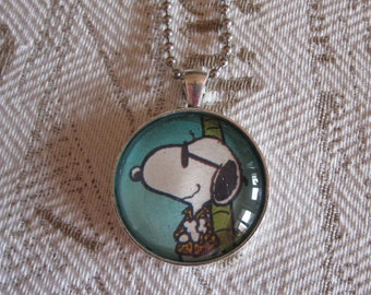"Old Papers - ""Snoopy"" glass cabochon necklace - upcycled gift idea"